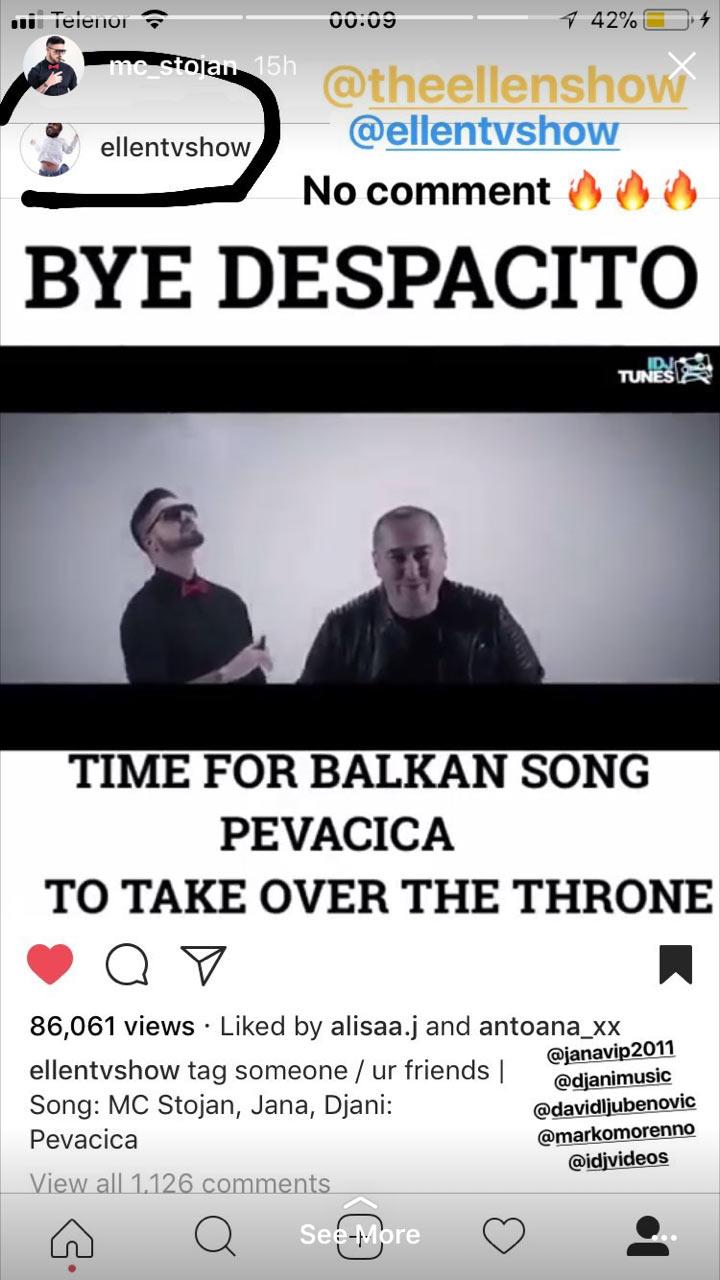 mc stojan na laznom ellen show instagramu